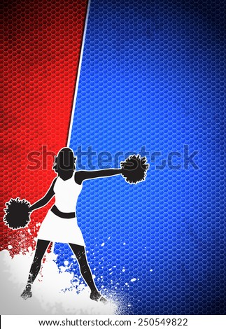 Cheerleader invitation advert poster or flyer background with empty space - stock photo