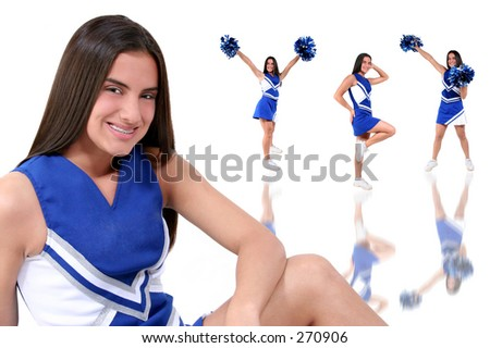 Cheerleader multiple pose composite over white in uniform with pompoms. - stock photo
