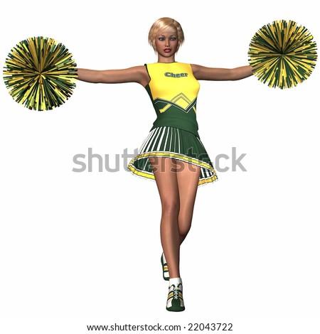 Cheerleader with Pompoms - stock photo