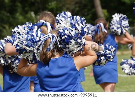 Cheerleaders Cheering at Game 2 - stock photo