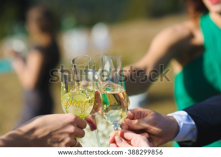 Cheers. friends celebrating a wedding  party and clinckind glasses of champagne or wine, outdoors.  - stock photo