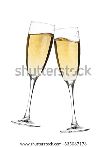 Cheers! Two champagne glasses. Isolated on white background - stock photo