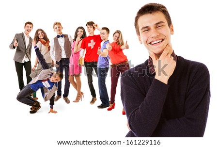 Cheers !!! We are finished school : group of smiling young people on the white - stock photo