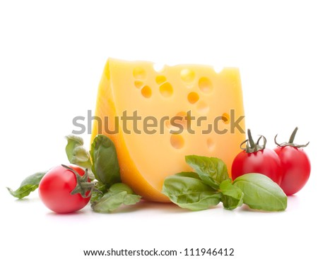 Cheese and basil leaves still life  isolated on white background cutout