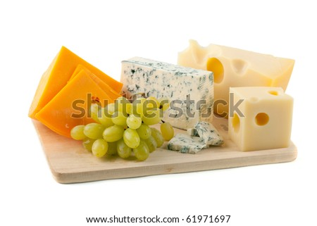 Cheese and grapes. Isolated on white - stock photo