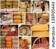 cheese and meat on farmers market - collage - stock photo