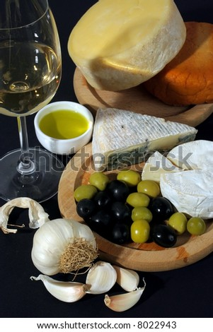 Cheese and olives breakfast