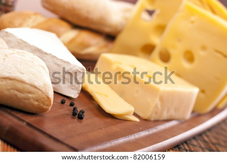 Cheese and other tasty ingriedients! - stock photo