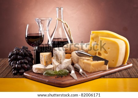 Cheese and red wine, grapes and other ingriedients