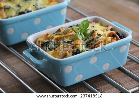 Cheese and spinach strata - stock photo
