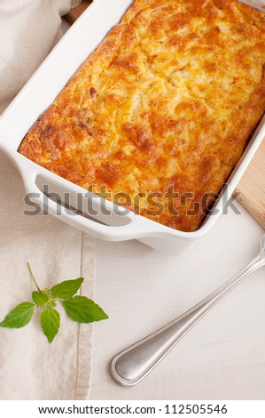 Cheese and vegetables gratin casserole - stock photo