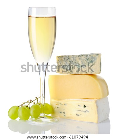 Cheese and white wine isolated on white background - stock photo