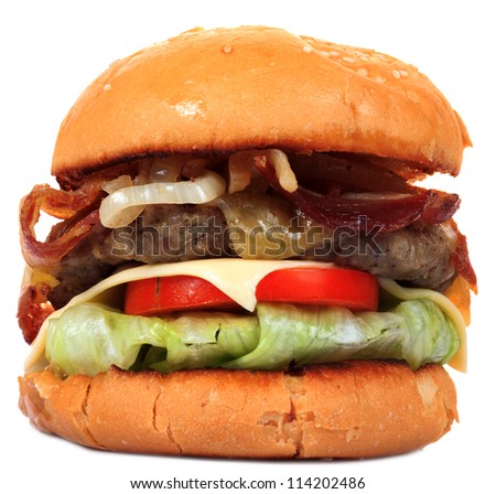 Cheese beef burger isolated on white background - stock photo
