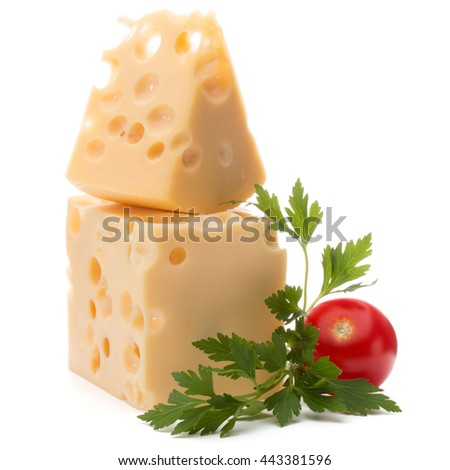 Cheese block isolated on white background cutout - stock photo