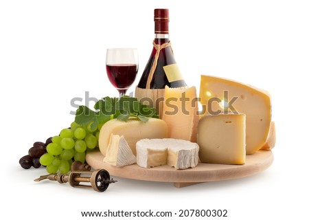 cheese board, grape and wine on white background - stock photo