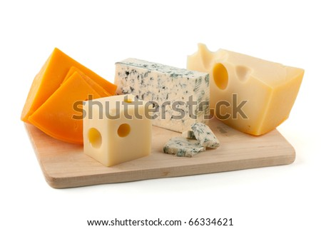 Cheese board. Isolated on white background - stock photo