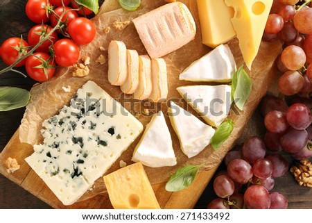 Cheese board various types of cheese composition  - stock photo