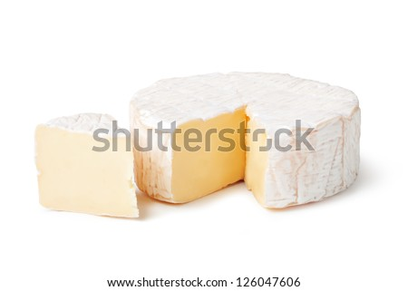 cheese brie on a white background - stock photo