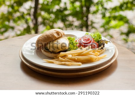 cheese burger with French fries,hamburger - stock photo