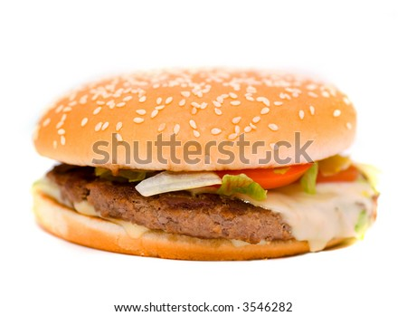 Cheese burger with lettuce and tomato,over a white background
