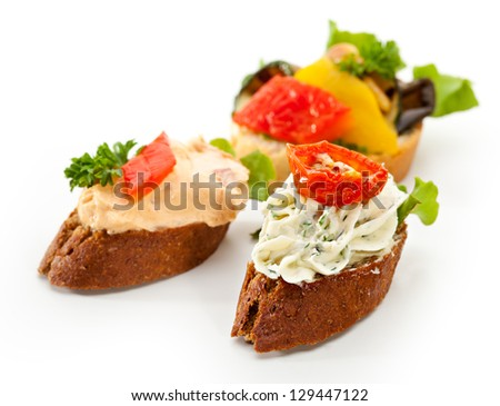 Cheese Canapes with Vegetables and Fruits - stock photo
