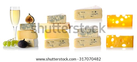Cheese collection isolated on white background - stock photo