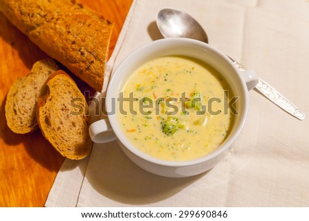 Cheese cream soup with vegetables - stock photo
