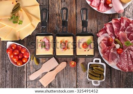 cheese, delicatessen and potato - stock photo