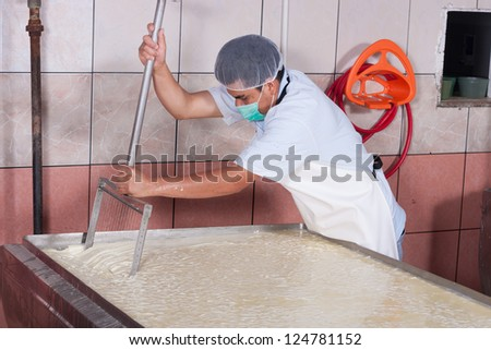 Cheese factory worker moving fermenting milk