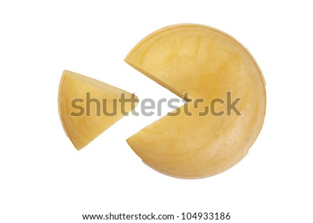 cheese graph with part on white background - stock photo