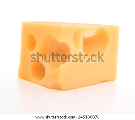 cheese isolated on white background cutout - stock photo