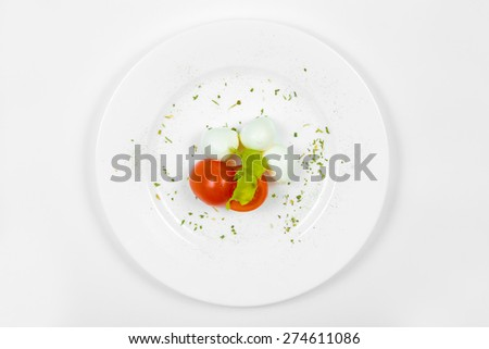 Cheese mozzarella with cherry tomatoes on white plate, view from above - stock photo