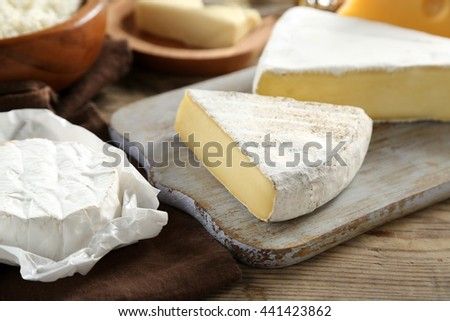 Cheese on wooden kitchen table
