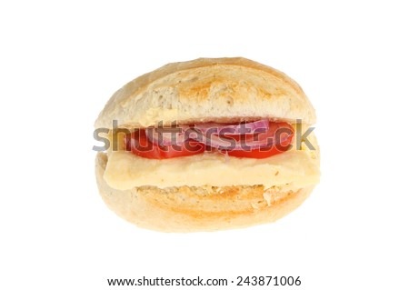 Cheese, onion and tomato petit pain isolated against white - stock photo