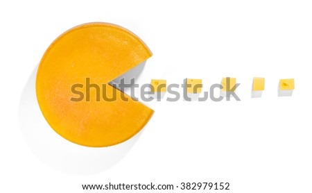 Cheese Pacman - playing with food - stock photo