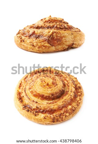 Cheese pastry roll bun isolated over the white background, set of two different foreshortenings - stock photo