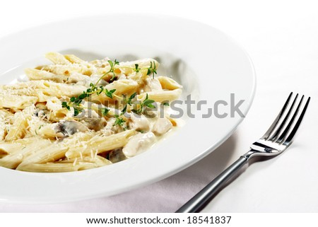 Cheese Penne Pasta with Chicken and Mushroom - stock photo