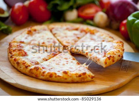 Cheese Pizza Lifted Slice - stock photo