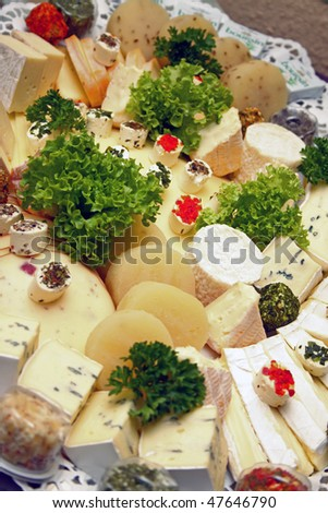 cheese platter on a cold buffet - stock photo