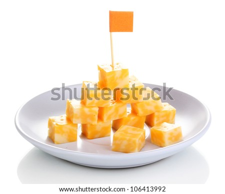 Cheese pyramid on plate isolated on white - stock photo