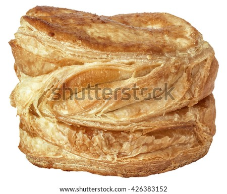 Cheese round, soft puff pastry, isolated on White background. - stock photo
