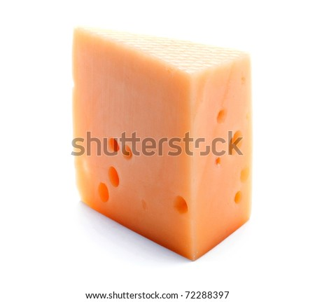 Cheese slice isolated on the white background
