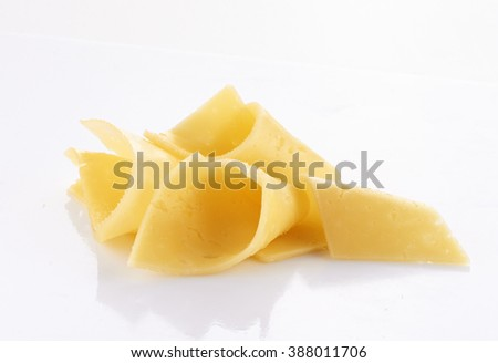 cheese slices isolated on white background - stock photo