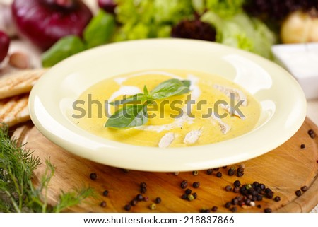 Cheese soup with chicken - stock photo