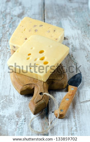 Cheese Truckle.Selective focus - stock photo