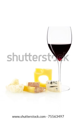 Cheese variation and glass of red wine isolated on white background. - stock photo