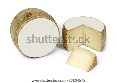 Cheese with blank labels. Isolated on white - stock photo