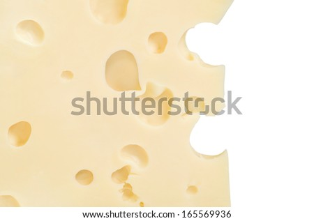 cheese with holes isolated on white background