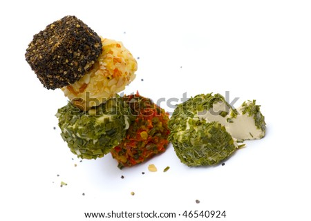 cheese with spices isolated on the white background