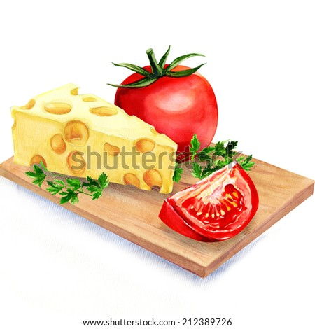 cheese with tomatoes on wooden board - stock photo